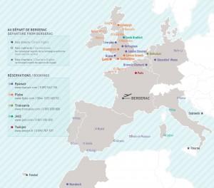 Accès aux Gîtes par avion - Carte des désertes aéroport de Bergerac