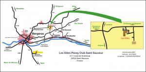 Plan d'accès aux Gîtes Poney Club Saint Sauveur
